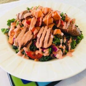 Vegan sweet potato and kale salad