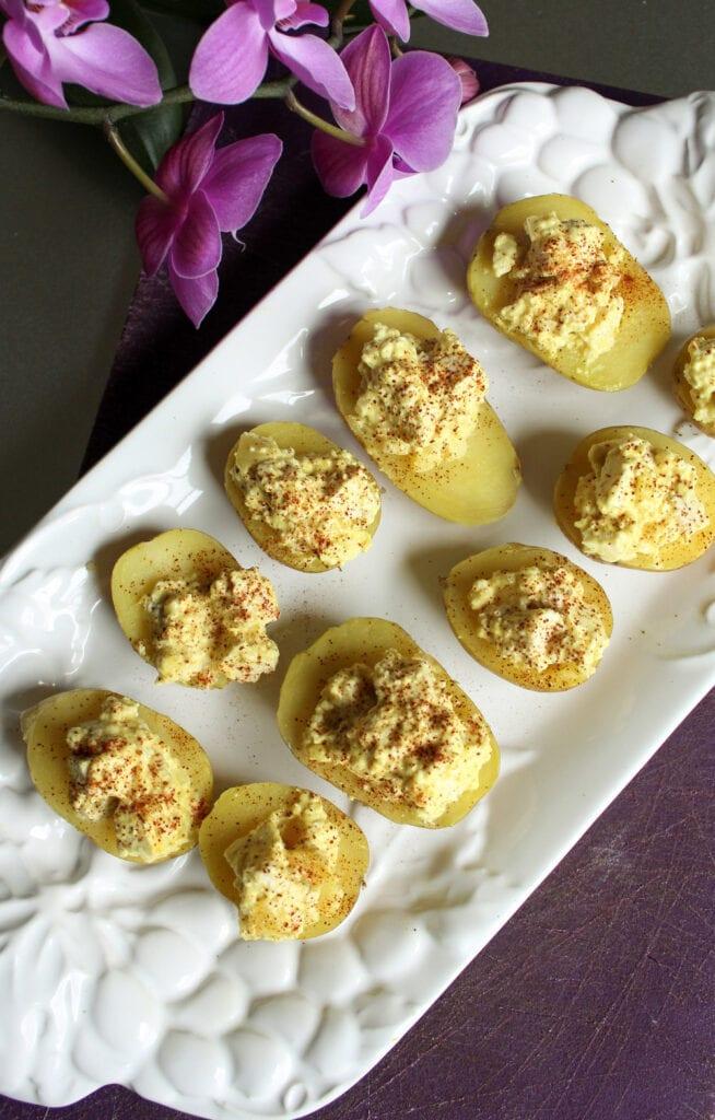 vegan deviled eggs on a platter